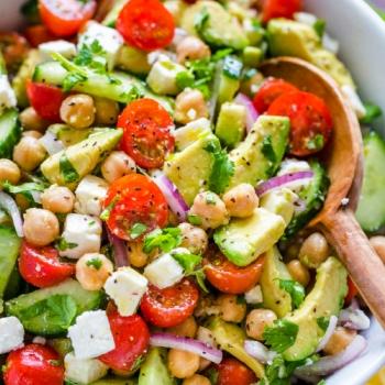 Paneer Tomato Mint Chickpea Salad